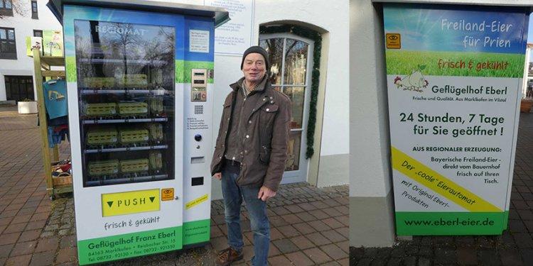 Priener Eier-Automat: Rathaus-Vorplatz - Eier rund um die Uhr!