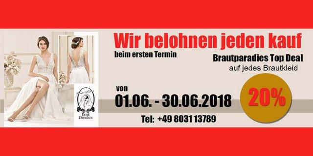 Das Brautparadies Rosenheim belohnt jeden Kauf beim ersten Termin bis zum 30. Juni 2018 mit 20 Prozent Rabatt. Jetzt schnell sein & Termin vereinbaren.